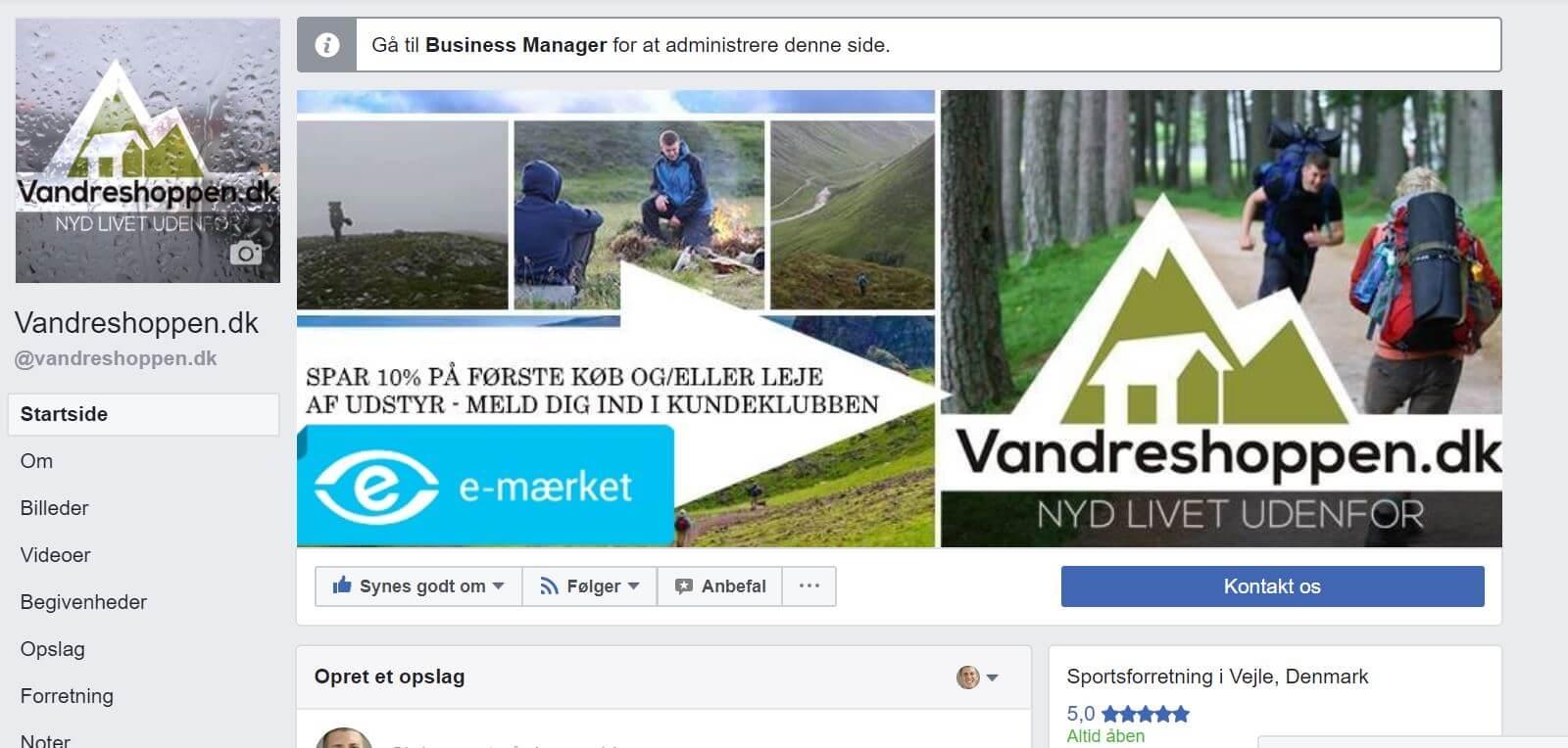 Vandreshoppen.dk Facebook